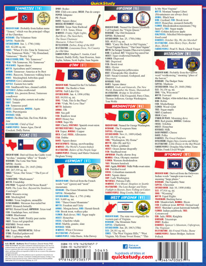Quick Study QuickStudy America: 50 States Laminated Study Guide BarCharts Publishing American History Reference Back Image