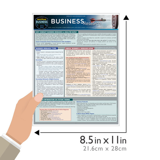 Quick Study QuickStudy Business Research Laminated Study Guide BarCharts Publishing Business Reference Guide Size