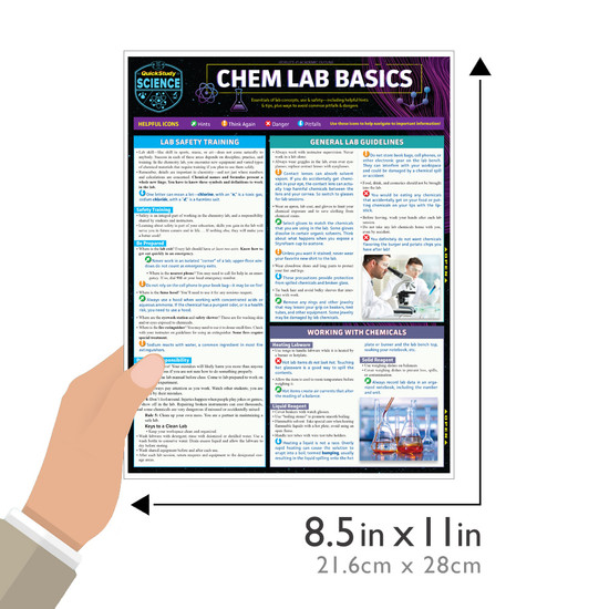 Quick Study QuickStudy Chem Lab Basics Laminated Study Guide BarCharts Publishing Science Reference Guide Size