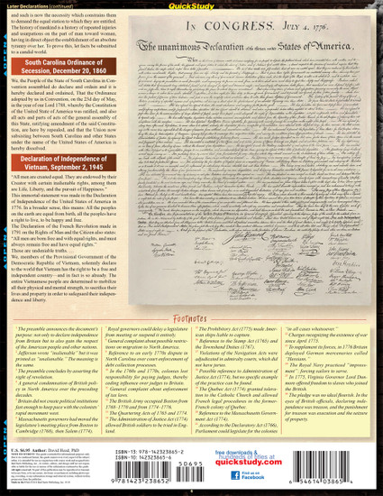 Quick Study QuickStudy Declaration of Independence Laminated Study Guide BarCharts Publishing American History Reference Back Image