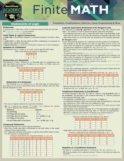 QuickStudy   Finite Math Laminated Study Guide