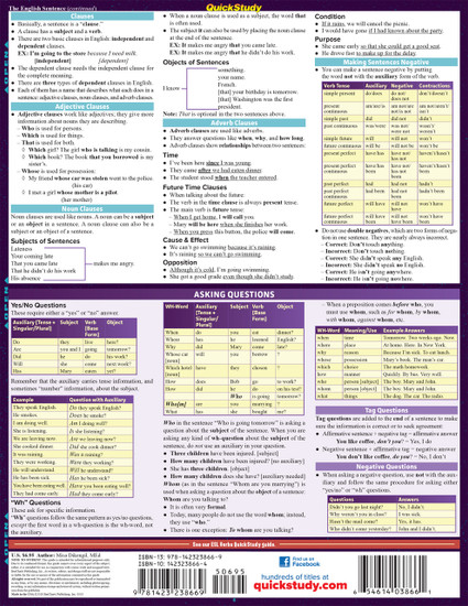 Quick Study QuickStudy ESL (English as a Second Language) Laminated Study Guide BarCharts Publishing Foreign Language Reference Back Image