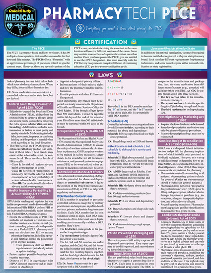 Quick Study QuickStudy Pharmacy Technician (PTCE) Laminated Study Guide BarCharts Publishing Medical Career Reference Cover Image
