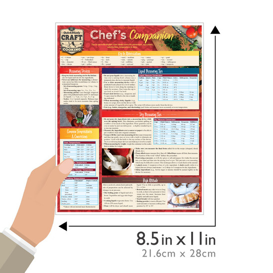 Quick Study QuickStudy Chef's Companion Laminated Reference Guide BarCharts Publishing Culinary Lifestyle Guide Size