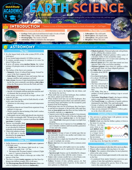 Quick Study QuickStudy Earth Science Laminated Study Guide BarCharts Publishing Scientific Reference Cover Image