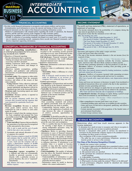 QuickStudy   Intermediate Accounting 1 Laminated Study Guide