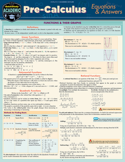 QuickStudy | Pre-Calculus: Equations & Answers Laminated Study Guide