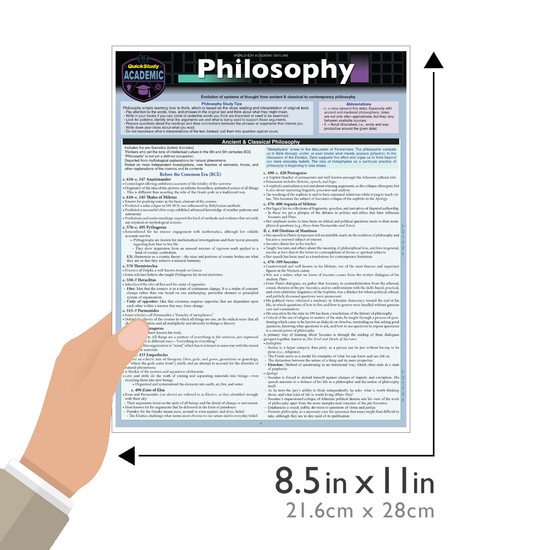 Quick Study QuickStudy Philosophy Laminated Study Guide BarCharts Publishing Social Study Reference Guide Size