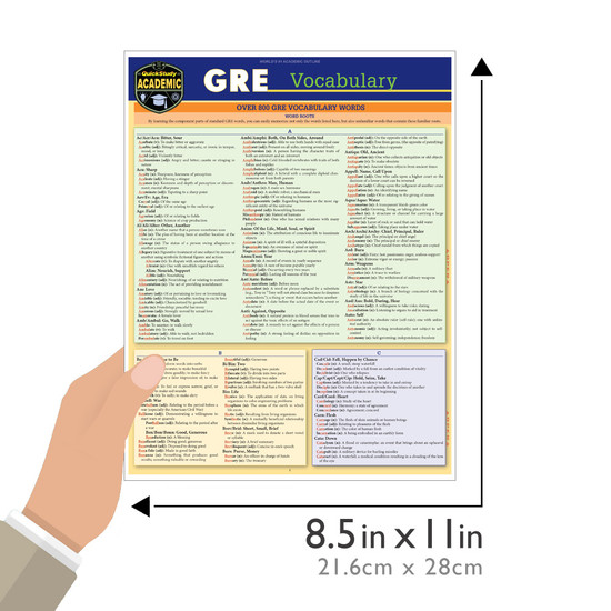 Quick Study QuickStudy GRE Vocabulary Laminated Study Guide BarCharts Publishing Education Reference Guide Size