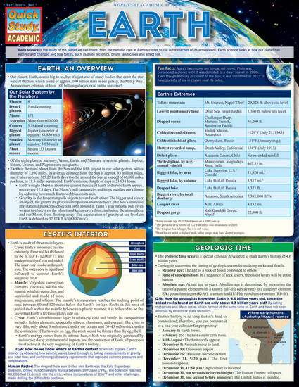 Quick Study QuickStudy Earth Laminated Study Guide BarCharts Publishing Physical Science Reference Cover Image