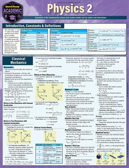 QuickStudy | Physics 2 Laminated Study Guide