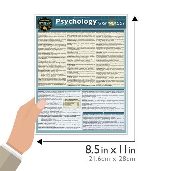 Quick Study QuickStudy Psychology Terminology Laminated Study Guide BarCharts Publishing Social Science Reference Guide Size