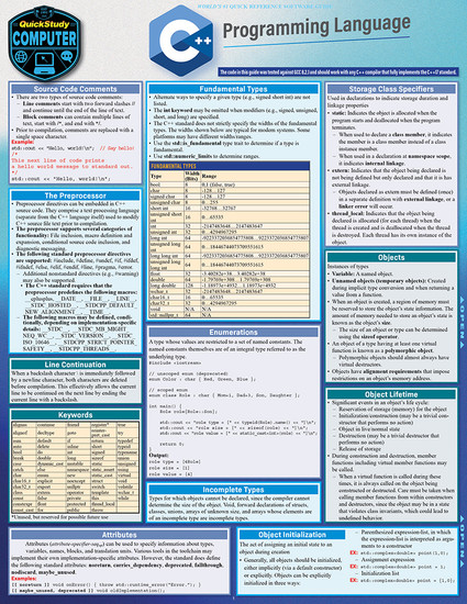 QuickStudy | C++ Programming Language Laminated Study Guide