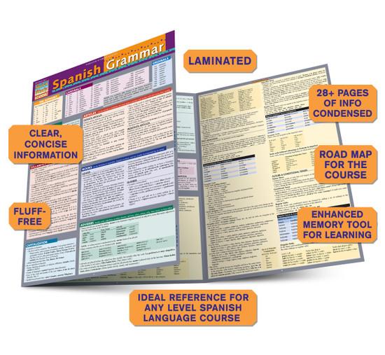 Quick Study QuickStudy Spanish Grammar Laminated Study Guide BarCharts Publishing Spanish Grammar Guide Benefits