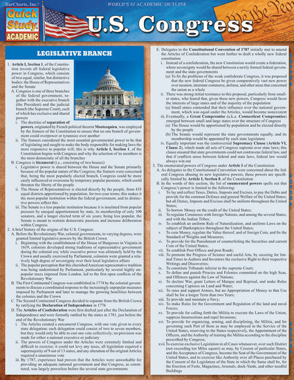 Quick Study QuickStudy U.S. Congress Laminated Study Guide BarCharts Publishing Social Science Guide Cover Image