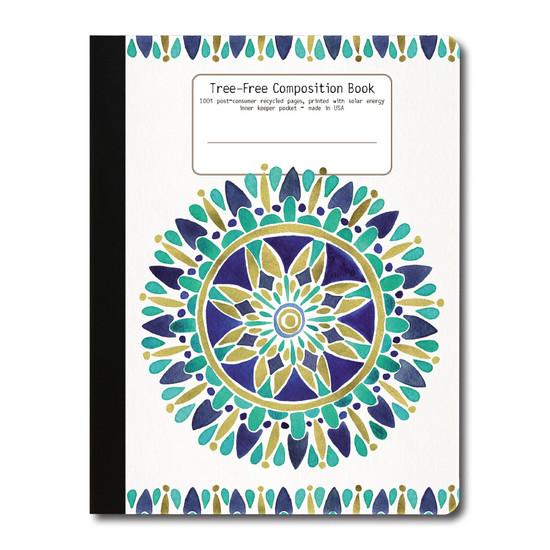 Tree-Free Greetings | Blue Gold Mandala Composition Book