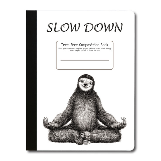 Tree-Free Greetings | Yoga Sloth Composition Book