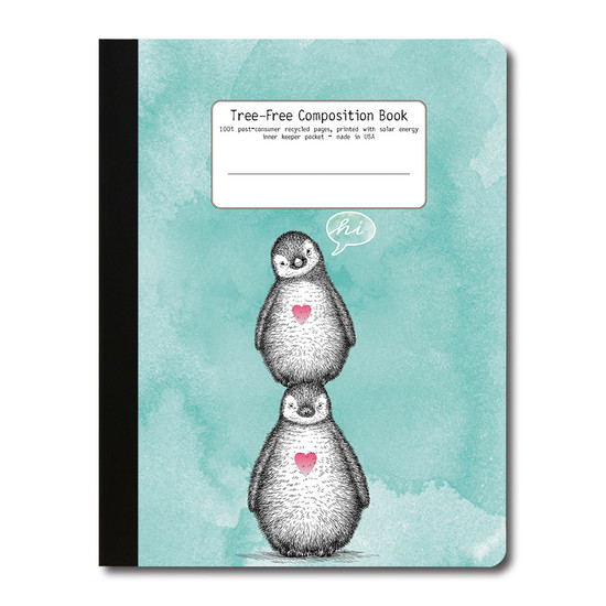 Tree-Free Greetings | Penguin Hi Teal Composition Book