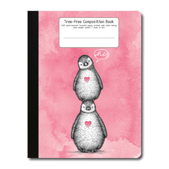Tree-Free Greetings | Pink Penguins Composition Book