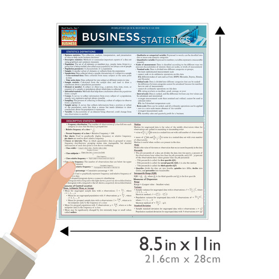 Quick Study QuickStudy Business Statistics Laminated Study Guide BarCharts Publishing Business Guide Size