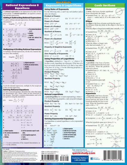 Quick Study QuickStudy College Algebra Laminated Study Guide BarCharts Publishing Reference Algebra Back Page Image