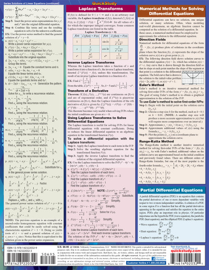 Quick Study QuickStudy Differential Equations Laminated Study Guide BarCharts Publishing Math Guide Back Image