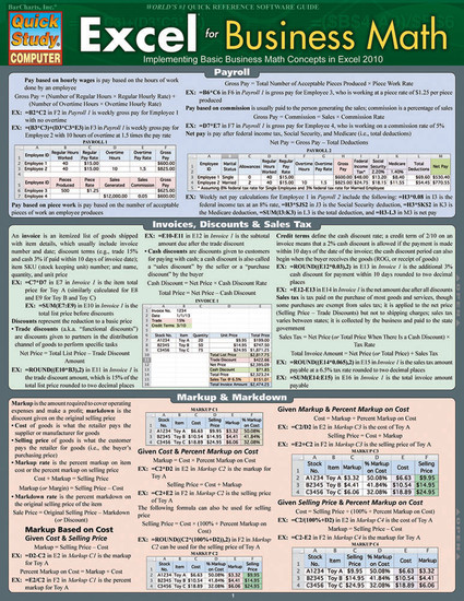Quick Study QuickStudy Excel for Business Math Laminated Study Guide BarCharts Publishing Business Cover Image