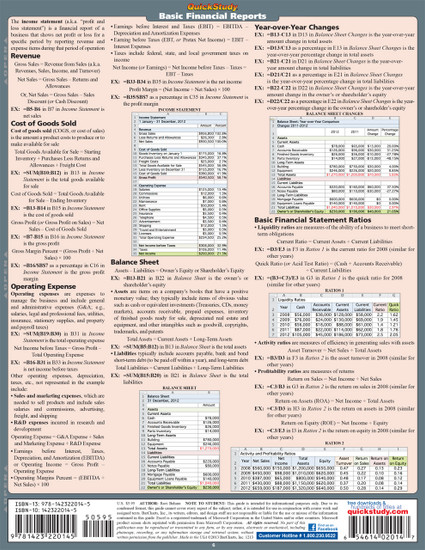 Quick Study QuickStudy Excel for Business Math Laminated Study Guide BarCharts Publishing Business Back Image