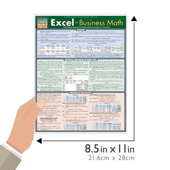 Quick Study QuickStudy Excel for Business Math Laminated Study Guide BarCharts Publishing Business Guide Size