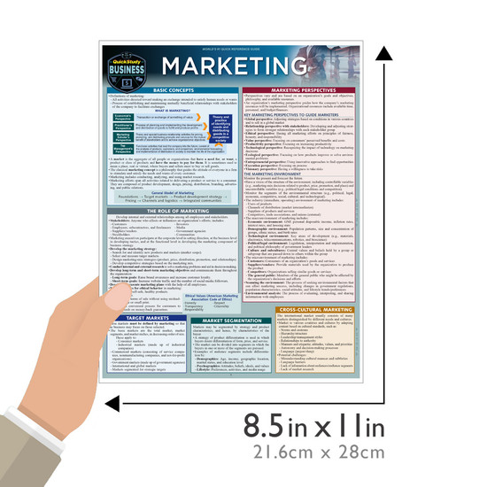 Quick Study QuickStudy Marketing Laminated Reference Guide BarCharts Publishing Business Education Guide Size