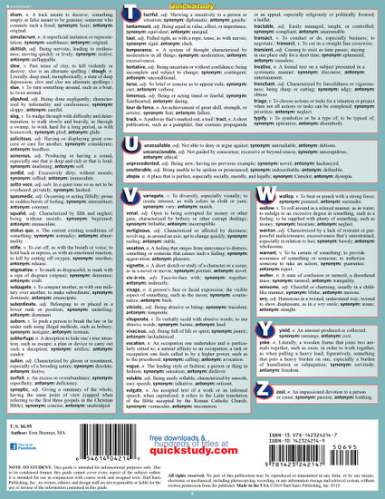 Quick Study QuickStudy 1001 Words For Success: Synonyms, Antonyms & Homonyms Laminated Study Guide BarCharts Publishing Language Arts Reference Back Image