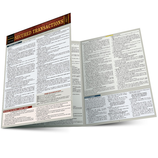 Quick Study QuickStudy Secured Transactions Laminated Reference Guide BarCharts Publishing Legal Reference Law Outline Main Image