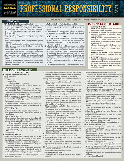 Quick Study QuickStudy Professional Responsibility Laminated Reference Guide BarCharts Publishing Legal Reference Law Outline Cover Image