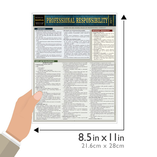 Quick Study QuickStudy Professional Responsibility Laminated Reference Guide BarCharts Publishing Legal Reference Law Outline Guide Size
