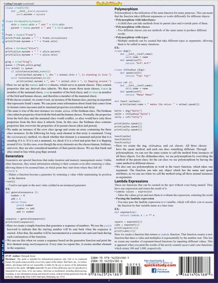 Quick Study QuickStudy Python 3 Programming Language Laminated Reference Guide BarCharts Publishing Computer Programming/Coding Language Outline Back Image