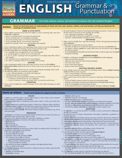 Quick Study QuickStudy English Grammar Punctuation Laminated Study Guide BarCharts Publishing Guide Cover Image