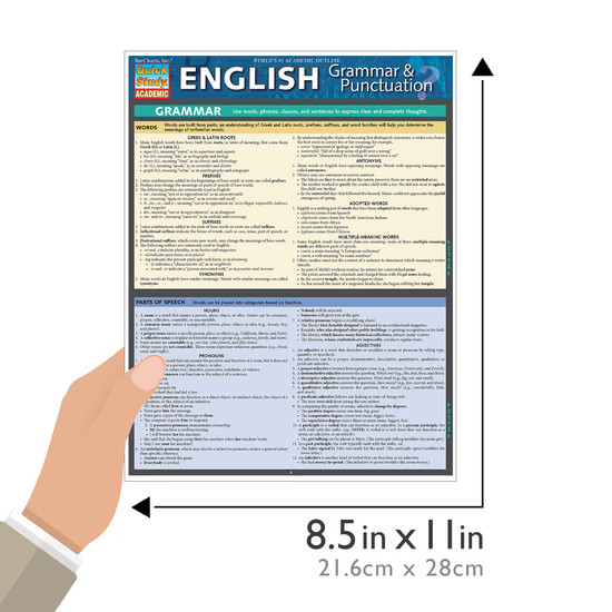 Quick Study QuickStudy English Grammar Punctuation Laminated Study Guide BarCharts Publishing Guide Size