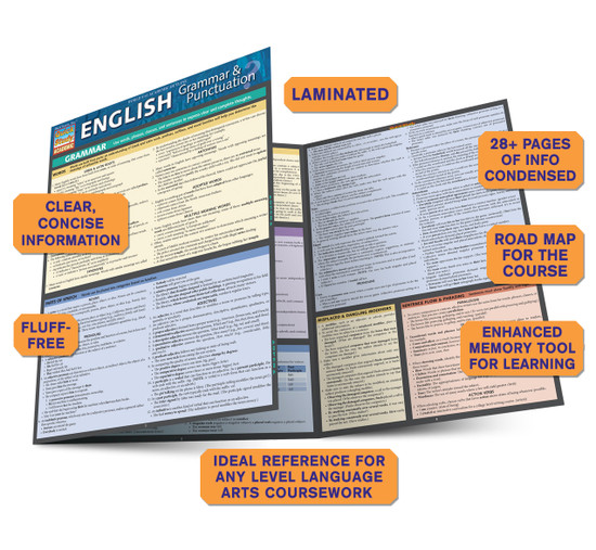 Quick Study QuickStudy English Grammar Punctuation Laminated Study Guide BarCharts Publishing Guide Benefits