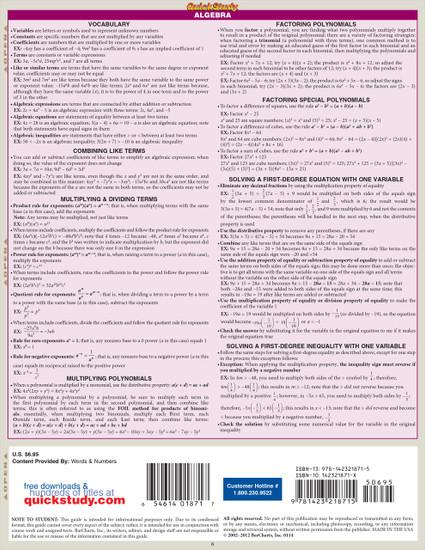 Quick Study QuickStudy Math Review Laminated Study Guide BarCharts Publishing Mathematics Guide Back Image