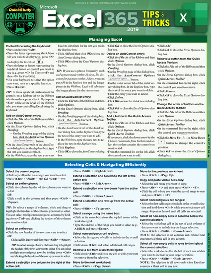 Quick Study QuickStudy Microsoft Excel 365: Tips & Tricks 2019 Laminated Reference Guide BarCharts Publishing Business Software Reference Cover Image