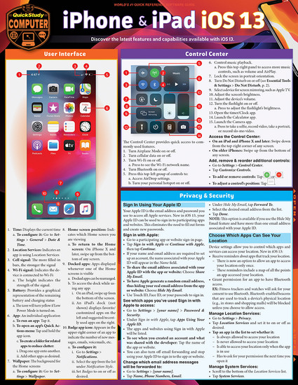 Quick Study QuickStudy iPhone & iPad iOS 13 Laminated Reference Guide BarCharts Publishing Mobile Operating System Reference Cover Image