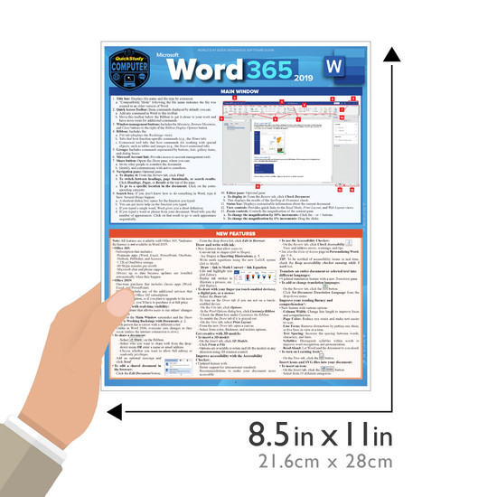 Quick Study QuickStudy Microsoft Word 365: 2019 Laminated Reference Guide BarCharts Publishing Academic/Professional Productivity Software Outline Guide Size