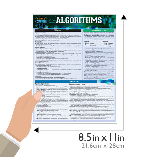 Quick Study QuickStudy Algorithms Laminated Study Guide BarCharts Publishing Computer Digital Content Reference Guide Size