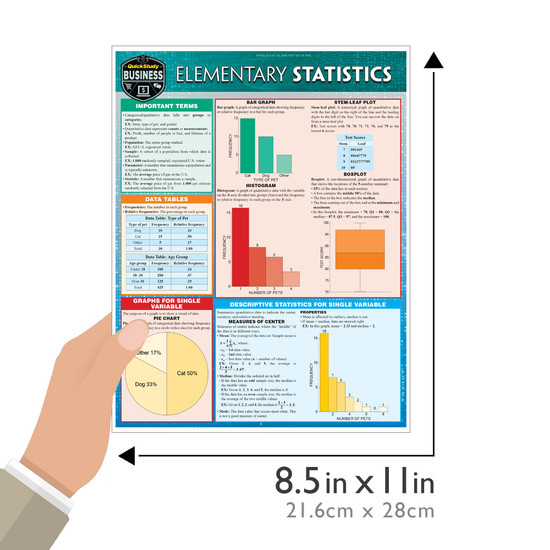 Quick Study QuickStudy Elementary Statistics Laminated Study Guide BarCharts Publishing Mathematic Reference Guide Size