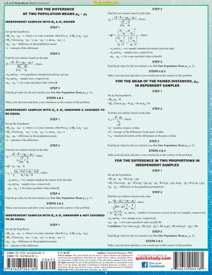 Quick Study QuickStudy Elementary Statistics Laminated Study Guide BarCharts Publishing Mathematic Reference Back Image