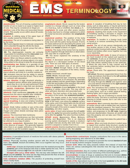 QuickStudy | Emergency Medical Services (EMS) Terminology Laminated Reference Guide