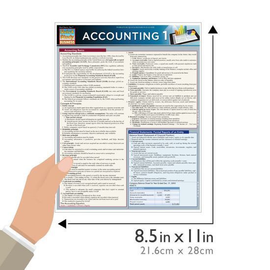 QuickStudy Quick Study Accounting 1 Laminated Study Guide BarCharts Publishing Business Accounting Guide Size