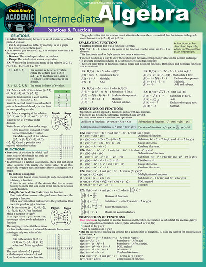 Quick Study QuickStudy Intermediate Algebra Laminated Study Guide BarCharts Publishing Mathematic Reference Cover Image