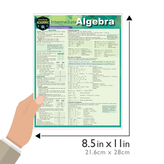 Quick Study QuickStudy Intermediate Algebra Laminated Study Guide BarCharts Publishing Mathematic Reference Guide Size