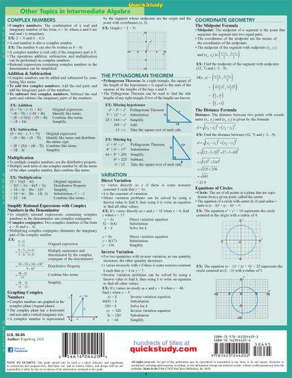 Quick Study QuickStudy Intermediate Algebra Laminated Study Guide BarCharts Publishing Mathematic Reference Back Image
